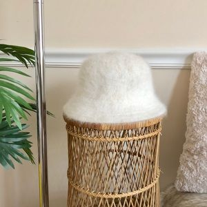White Vintage Angora Wool Rabbit Fur Bucket Hat